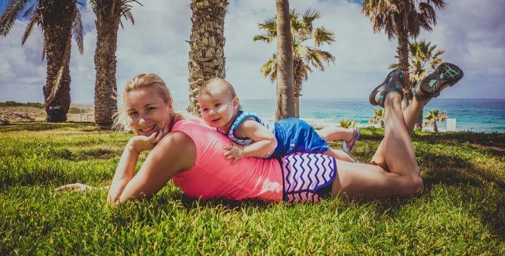 Mi bebe y yo en un lugar de veraneo